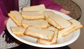 Muenster-style vegan cheese on crackers